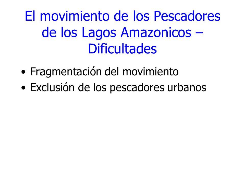 El movimiento de los Pescadores de los Lagos Amazonicos – Dificultades