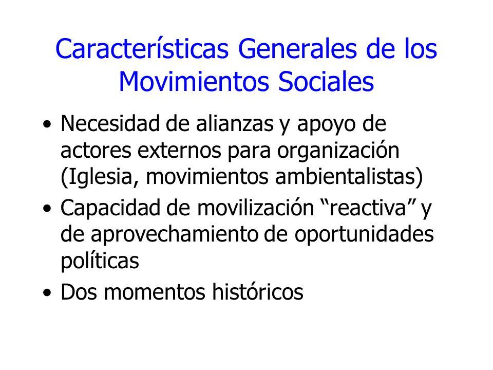 Características Generales de los Movimientos Sociales