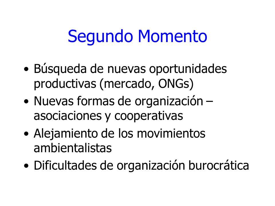 Segundo Momento Búsqueda de nuevas oportunidades productivas (mercado, ONGs) Nuevas formas de organización – asociaciones y cooperativas.