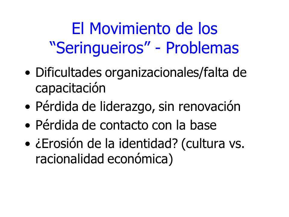 El Movimiento de los Seringueiros - Problemas
