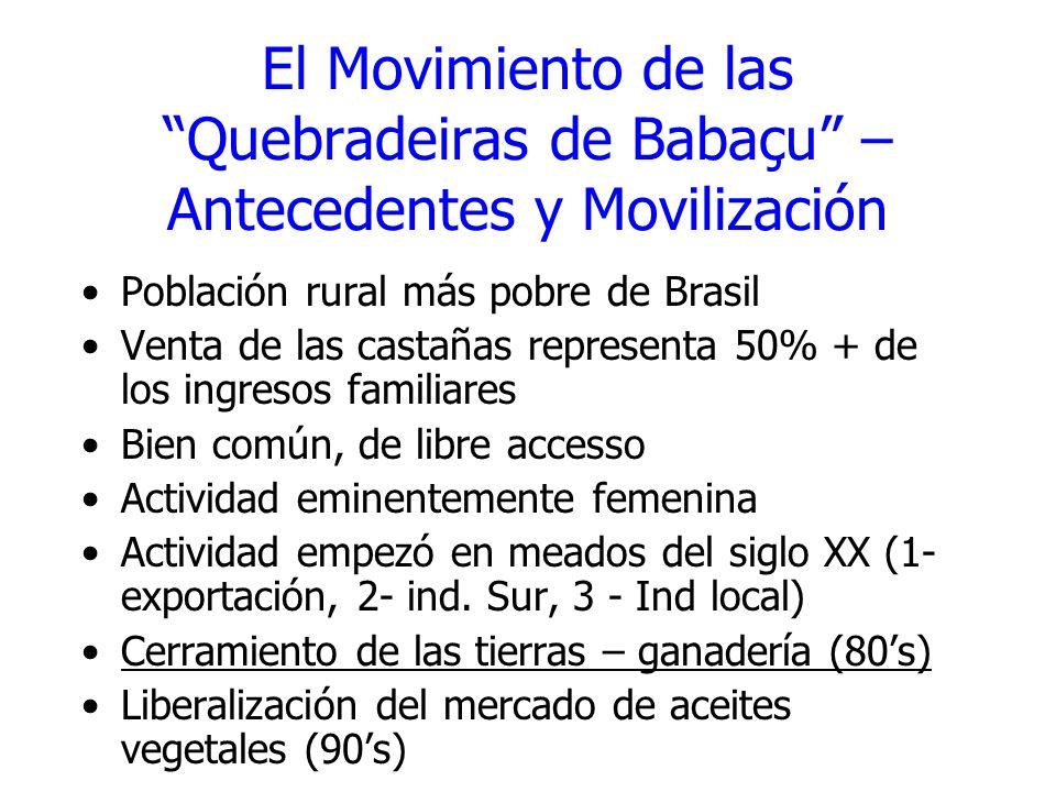 El Movimiento de las Quebradeiras de Babaçu – Antecedentes y Movilización