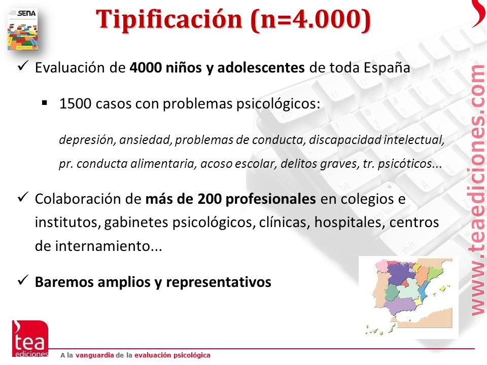 Tipificación (n=4.000) Evaluación de 4000 niños y adolescentes de toda España. 1500 casos con problemas psicológicos: