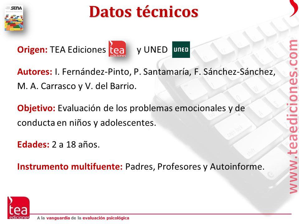 Datos técnicos Origen: TEA Ediciones y UNED