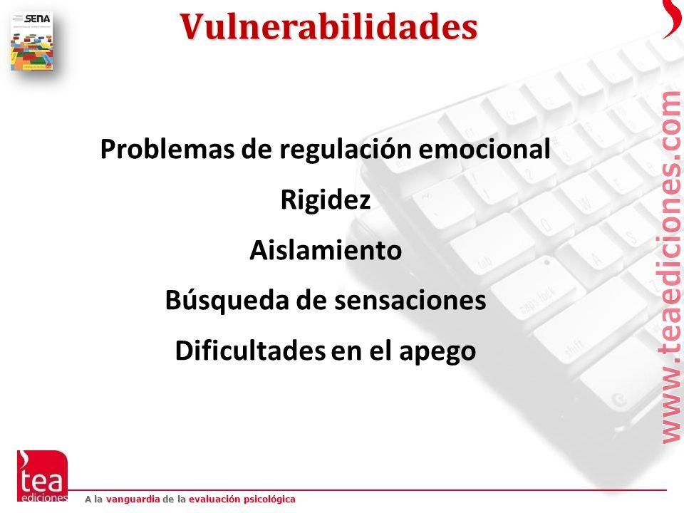 Vulnerabilidades Problemas de regulación emocional Rigidez Aislamiento