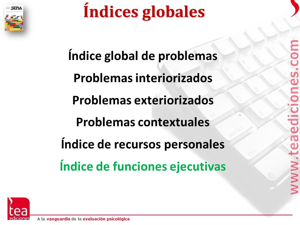 Índices globales Índice global de problemas Problemas interiorizados