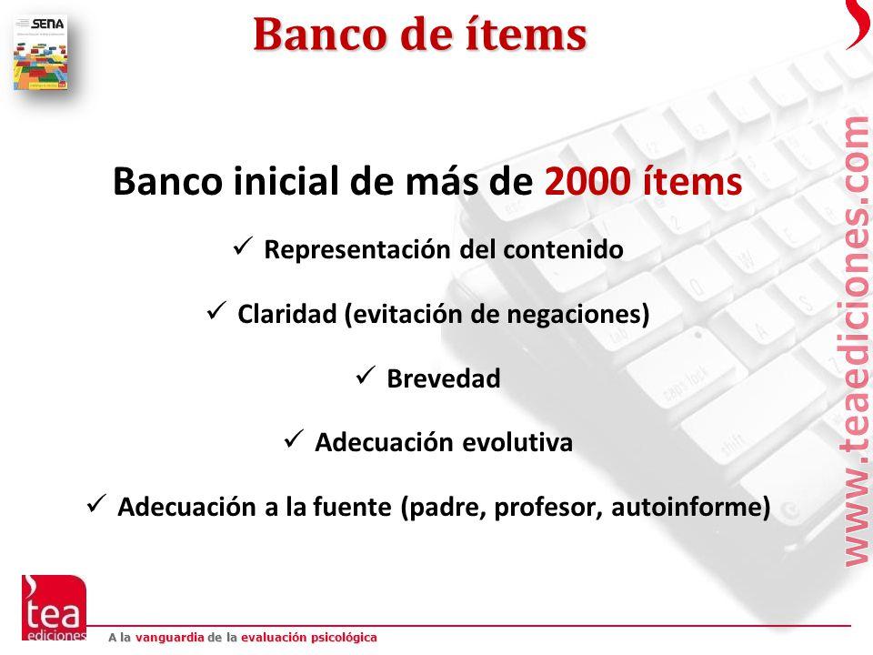 Banco de ítems Banco inicial de más de 2000 ítems