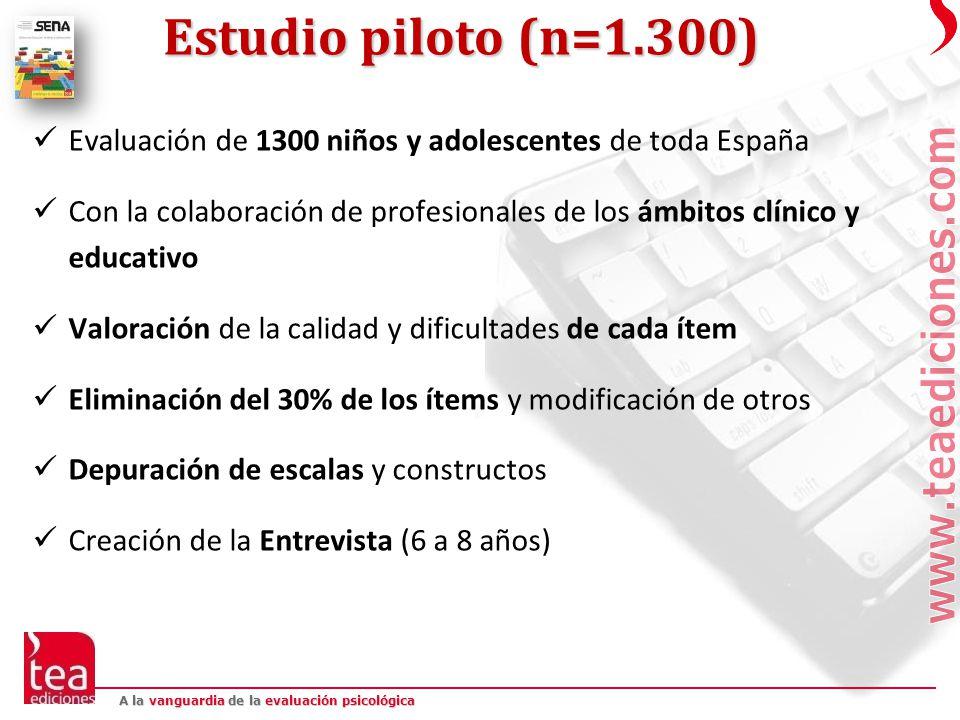 Estudio piloto (n=1.300) Evaluación de 1300 niños y adolescentes de toda España.