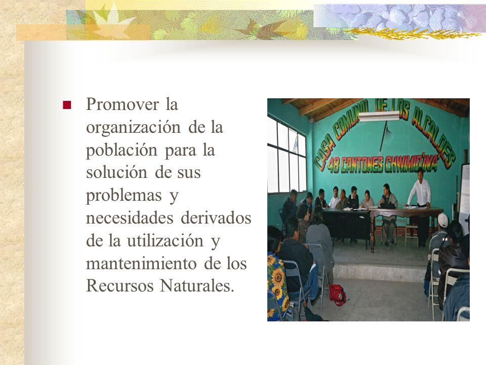 Promover la organización de la población para la solución de sus problemas y necesidades derivados de la utilización y mantenimiento de los Recursos Naturales.