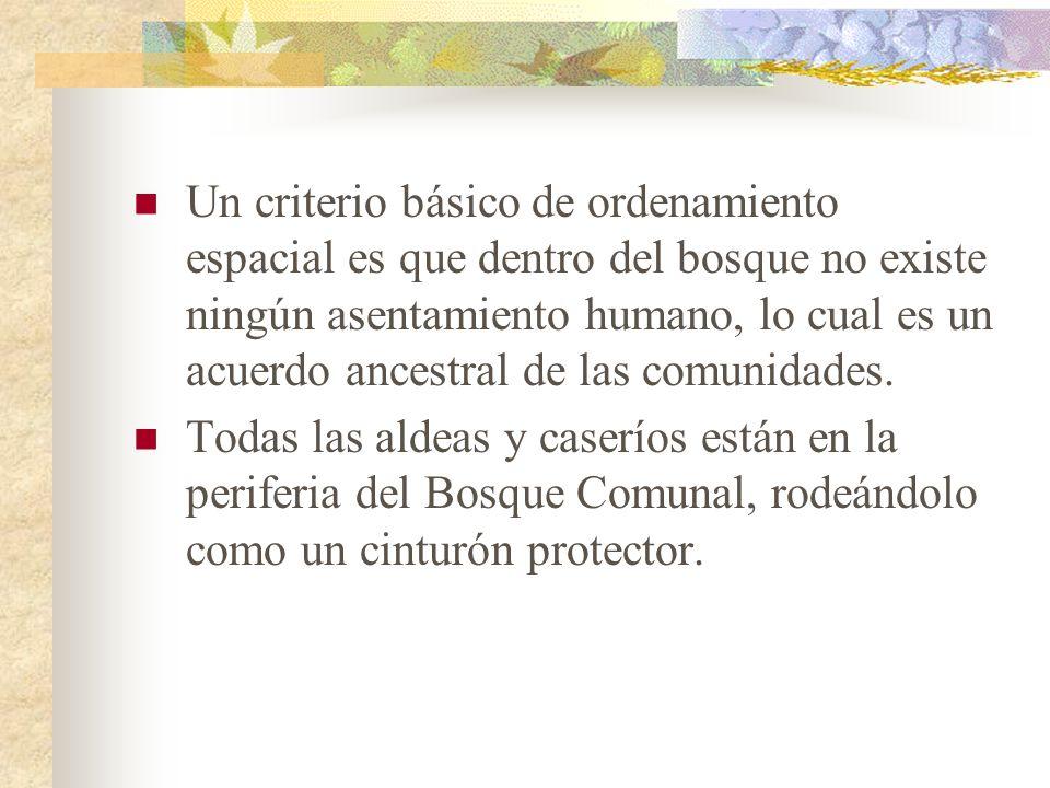 Un criterio básico de ordenamiento espacial es que dentro del bosque no existe ningún asentamiento humano, lo cual es un acuerdo ancestral de las comunidades.