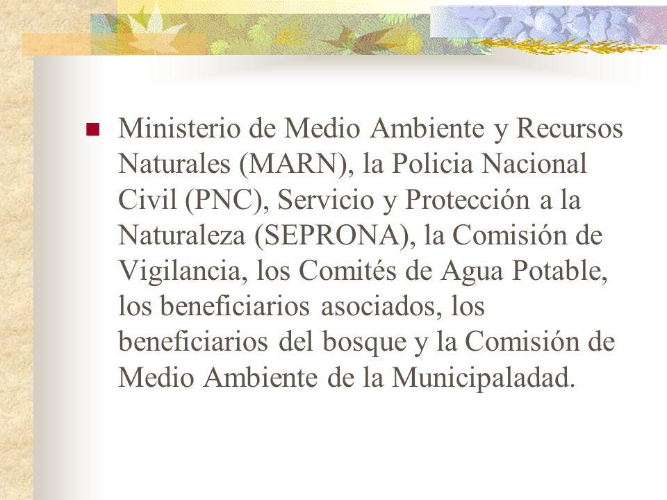 Ministerio de Medio Ambiente y Recursos Naturales (MARN), la Policia Nacional Civil (PNC), Servicio y Protección a la Naturaleza (SEPRONA), la Comisión de Vigilancia, los Comités de Agua Potable, los beneficiarios asociados, los beneficiarios del bosque y la Comisión de Medio Ambiente de la Municipaladad.