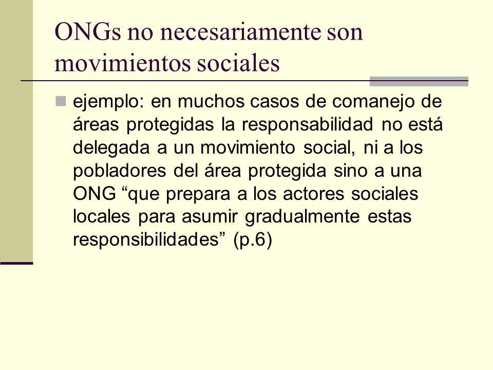 ONGs no necesariamente son movimientos sociales