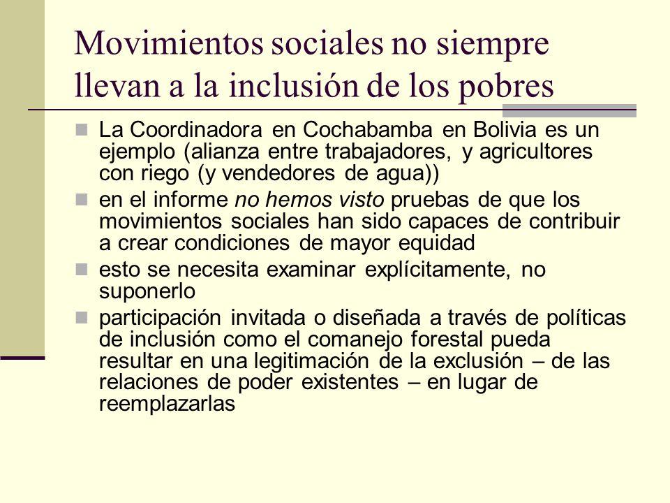 Movimientos sociales no siempre llevan a la inclusión de los pobres