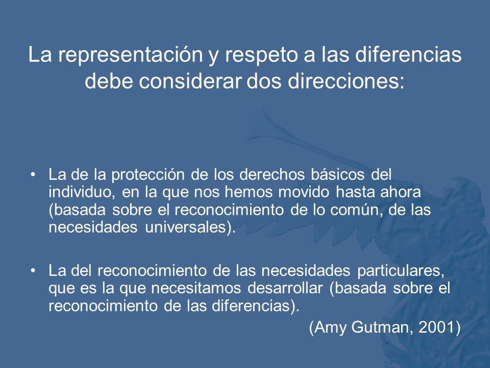 La representación y respeto a las diferencias debe considerar dos direcciones: