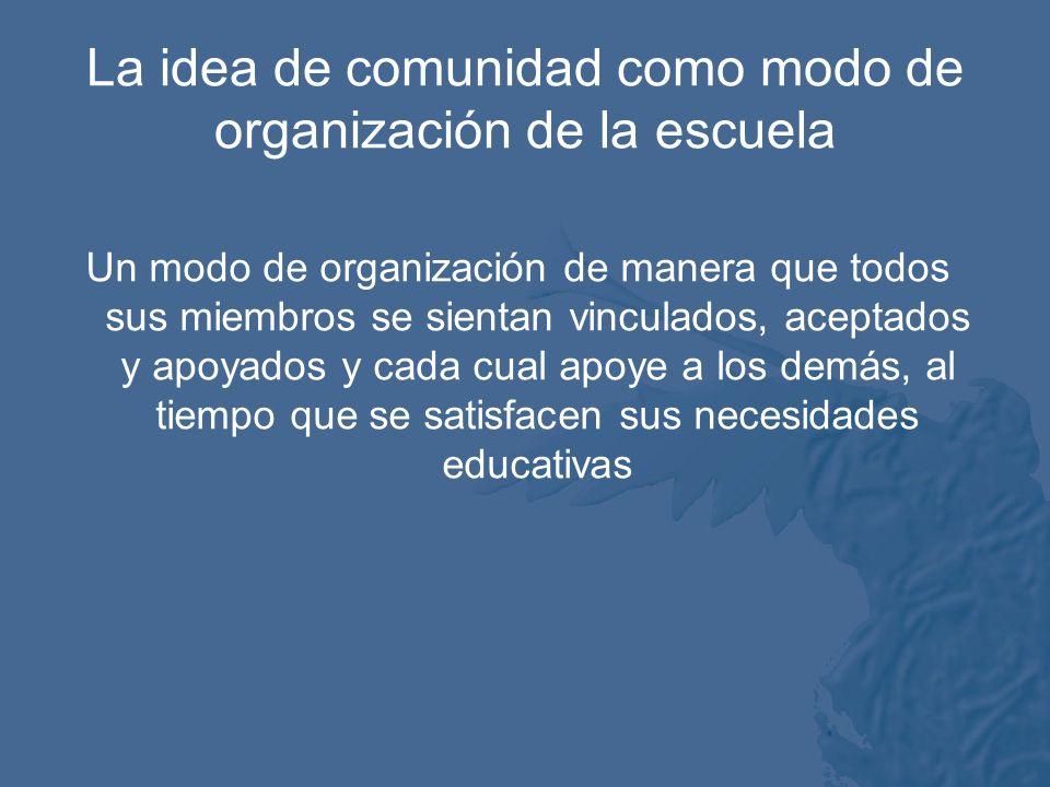 La idea de comunidad como modo de organización de la escuela
