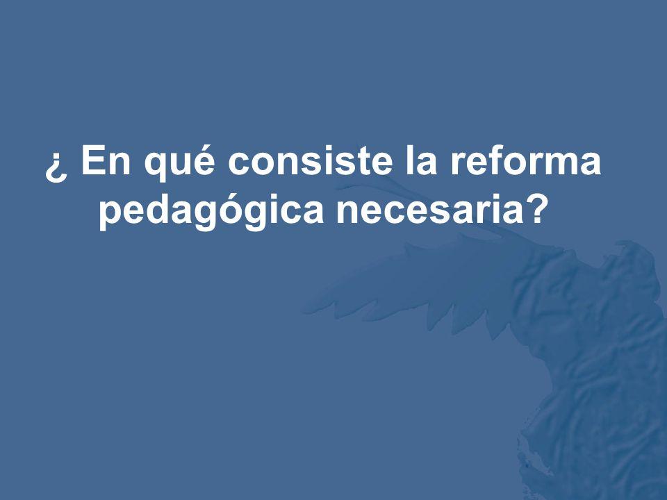 ¿ En qué consiste la reforma pedagógica necesaria