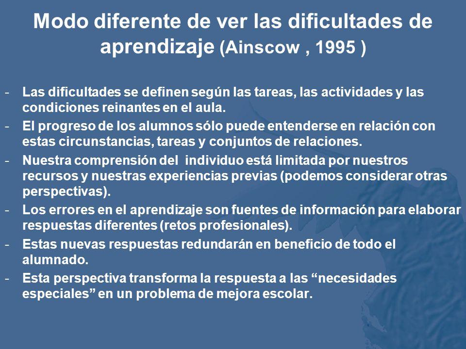 Modo diferente de ver las dificultades de aprendizaje (Ainscow , 1995 )