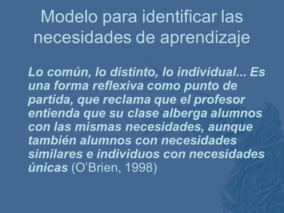 Modelo para identificar las necesidades de aprendizaje