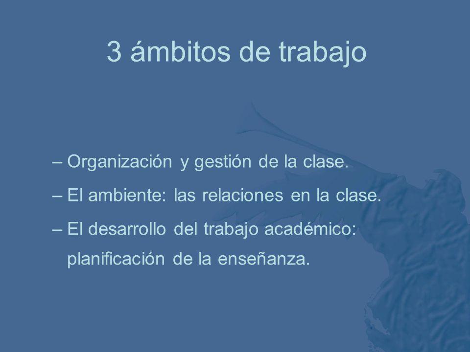 3 ámbitos de trabajo Organización y gestión de la clase.