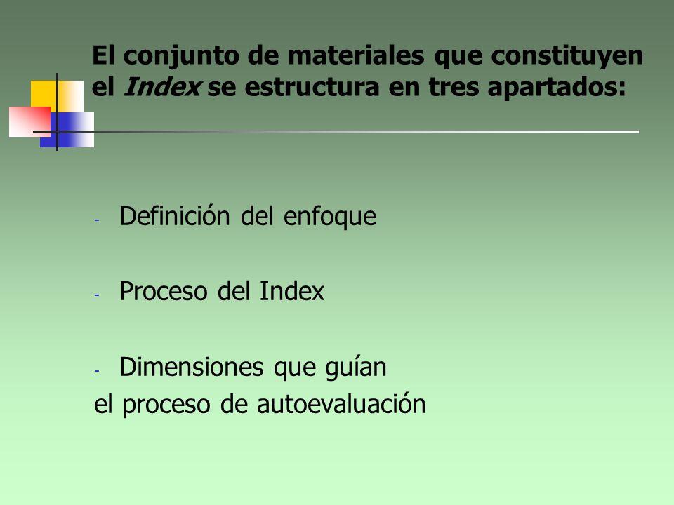 El conjunto de materiales que constituyen el Index se estructura en tres apartados: