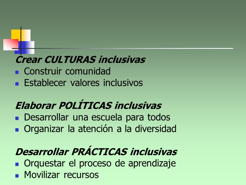Crear CULTURAS inclusivas