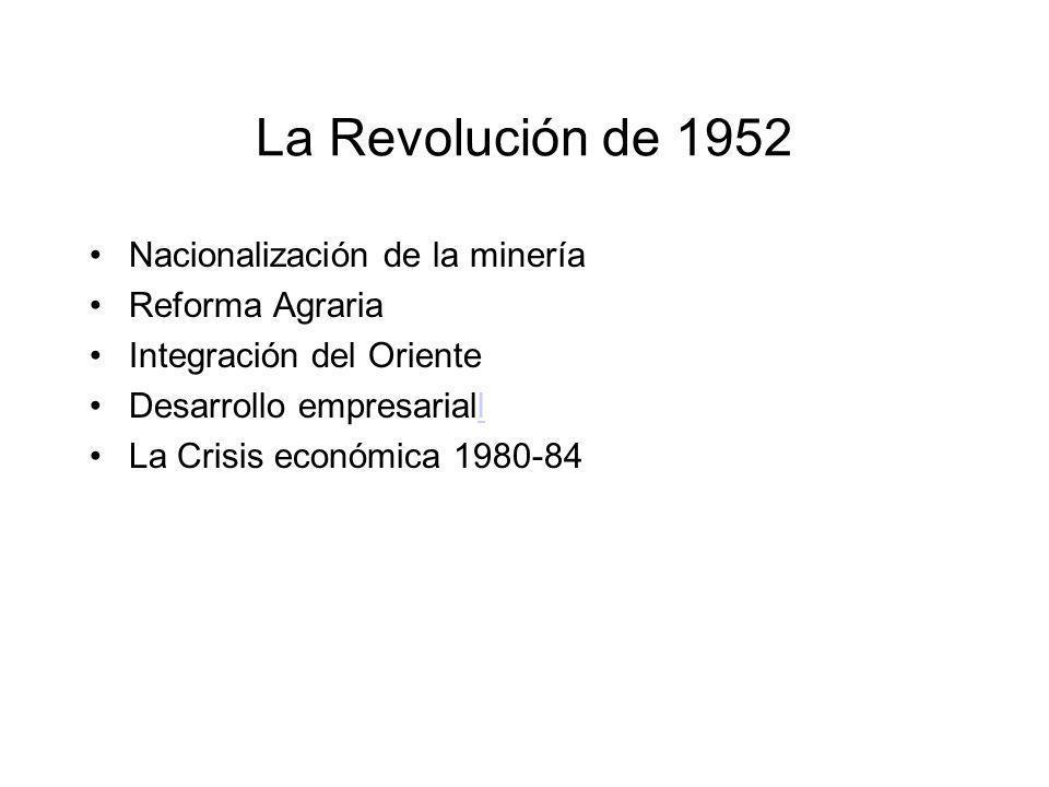 La Revolución de 1952 Nacionalización de la minería Reforma Agraria