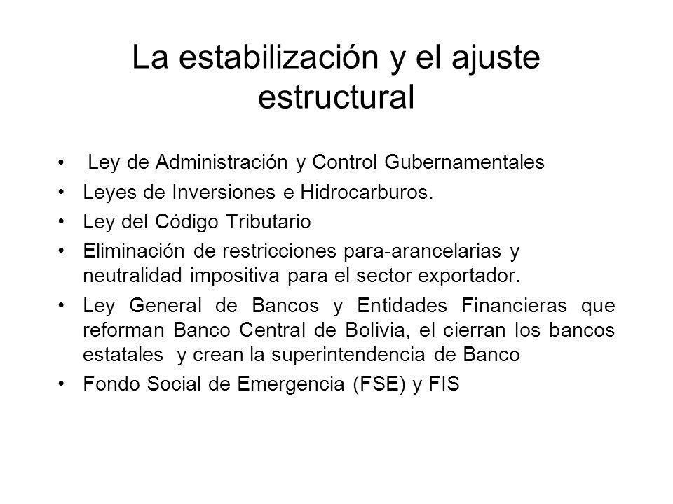 La estabilización y el ajuste estructural