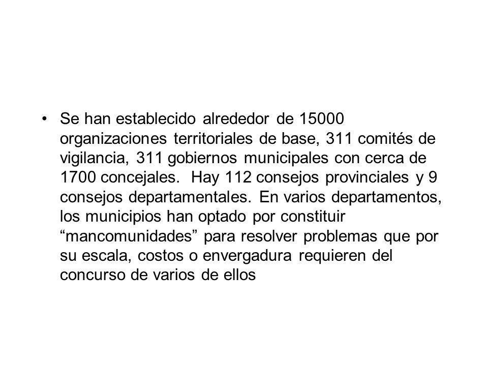Se han establecido alrededor de 15000 organizaciones territoriales de base, 311 comités de vigilancia, 311 gobiernos municipales con cerca de 1700 concejales.