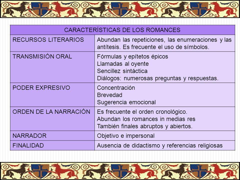 CARACTERÍSTICAS DE LOS ROMANCES