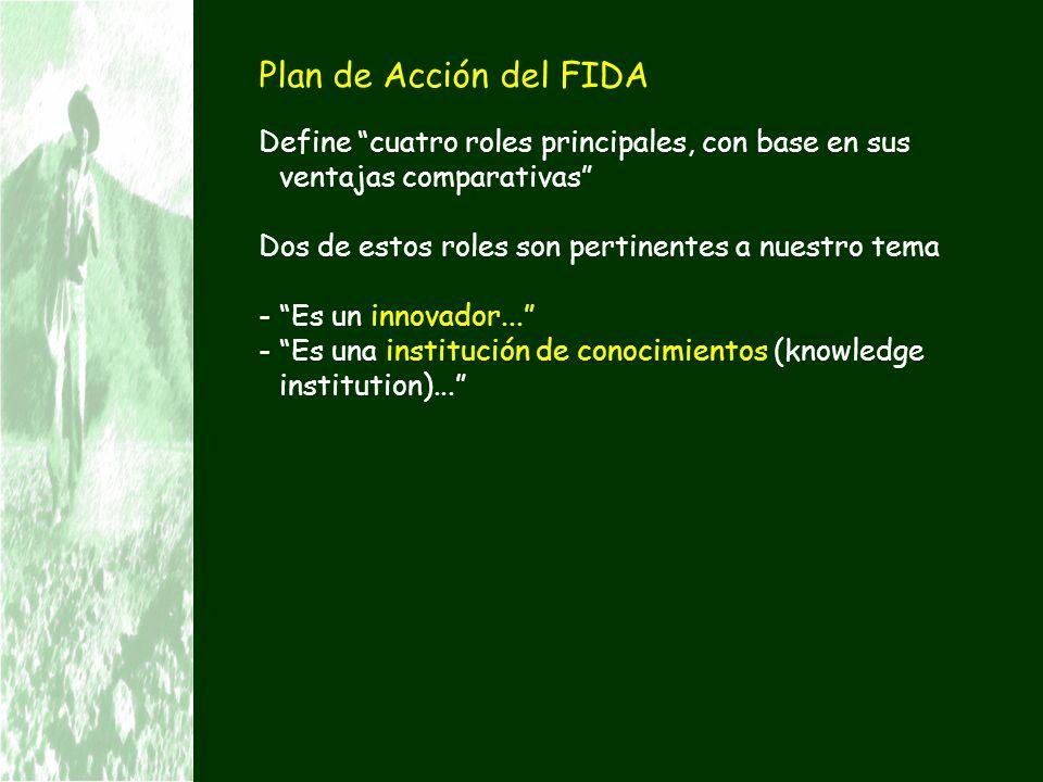 Plan de Acción del FIDA Define cuatro roles principales, con base en sus ventajas comparativas Dos de estos roles son pertinentes a nuestro tema.