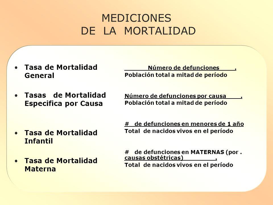 MEDICIONES DE LA MORTALIDAD