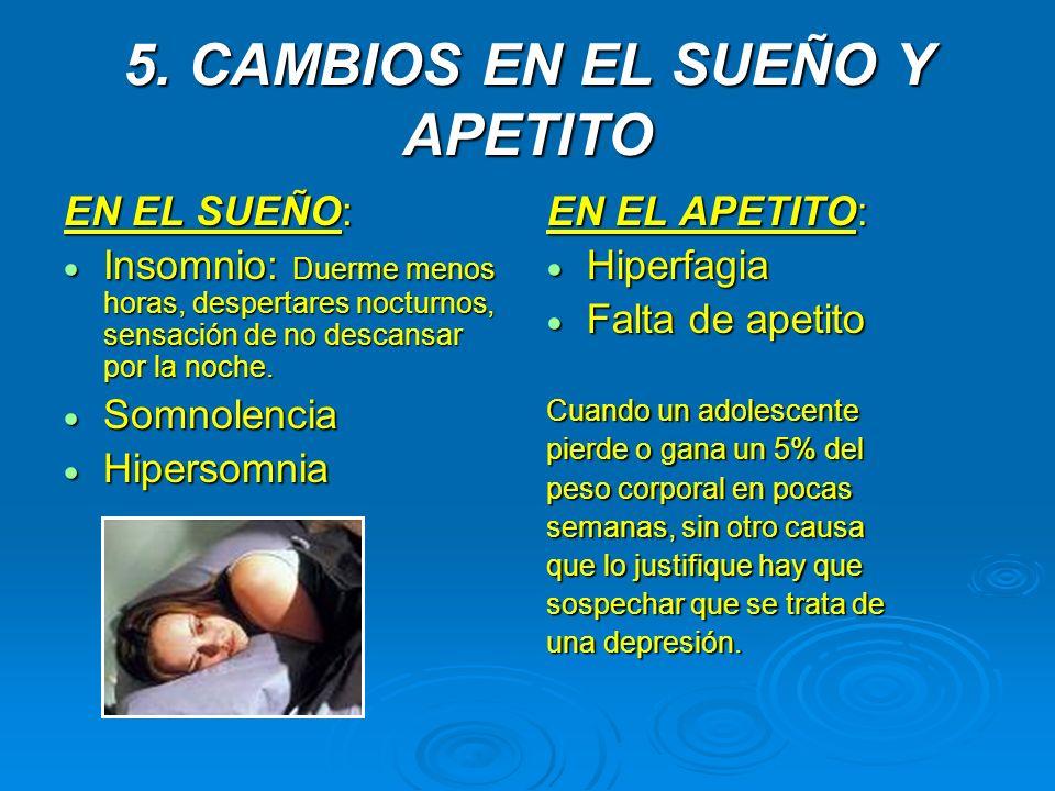 5. CAMBIOS EN EL SUEÑO Y APETITO