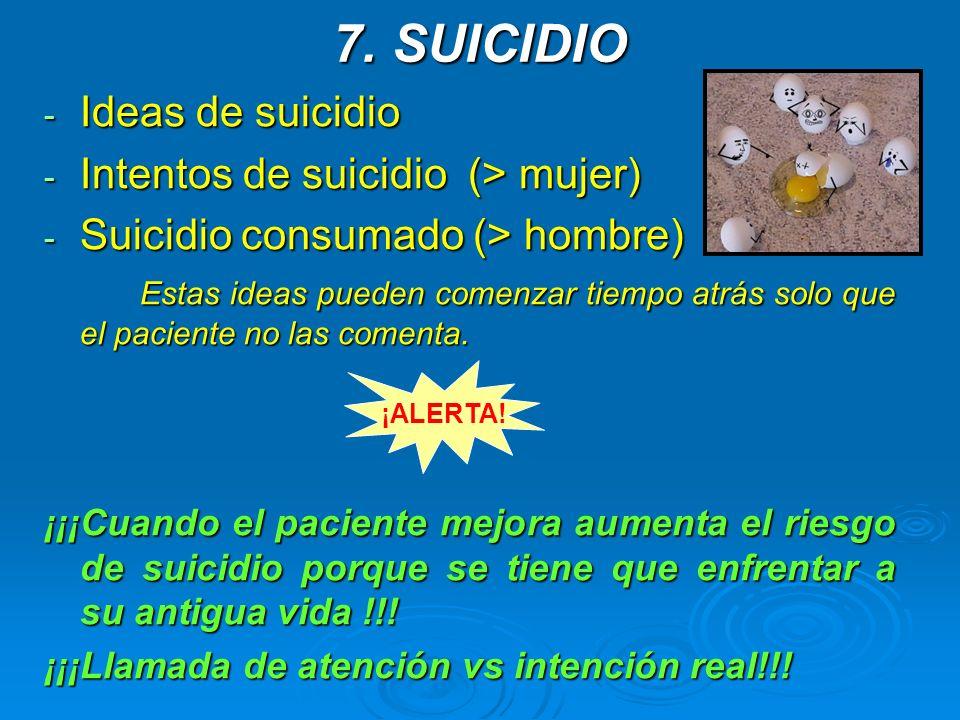 7. SUICIDIO Ideas de suicidio Intentos de suicidio (> mujer)