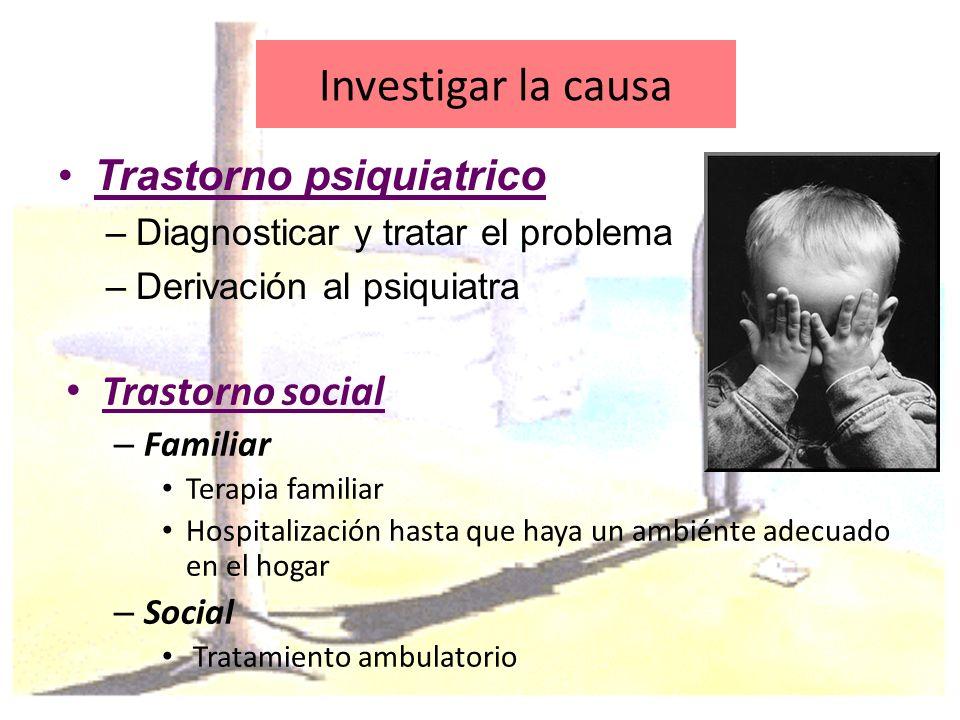 Investigar la causa Trastorno psiquiatrico Trastorno social
