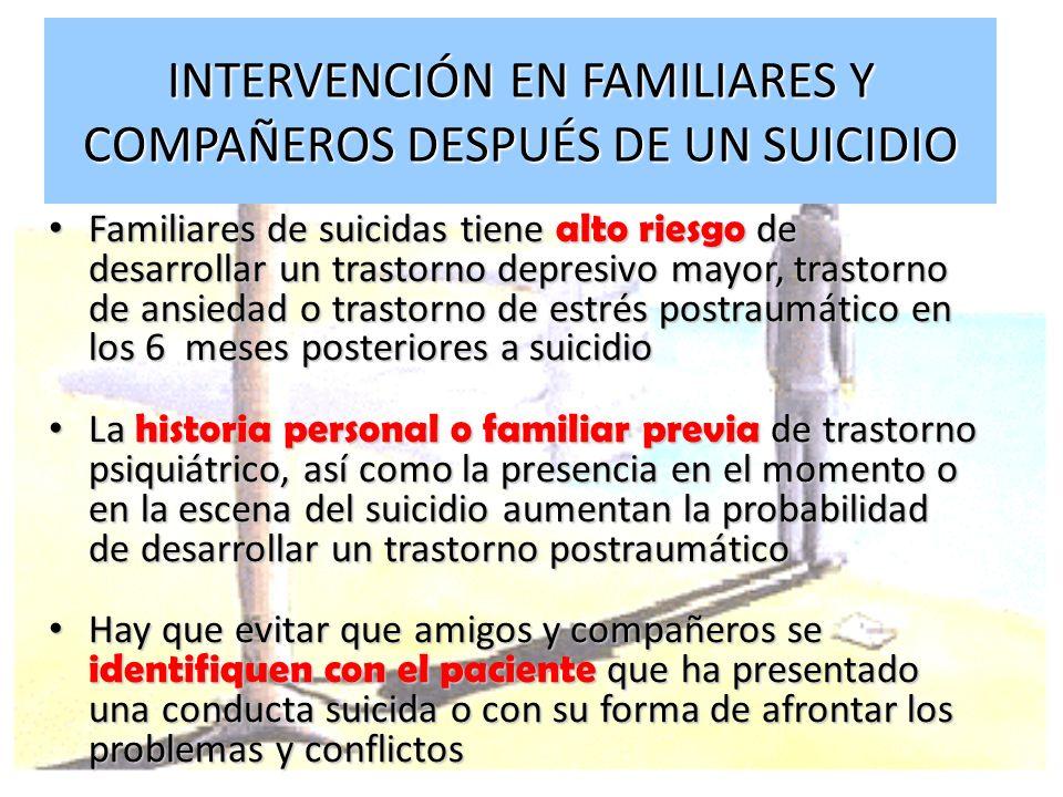 INTERVENCIÓN EN FAMILIARES Y COMPAÑEROS DESPUÉS DE UN SUICIDIO