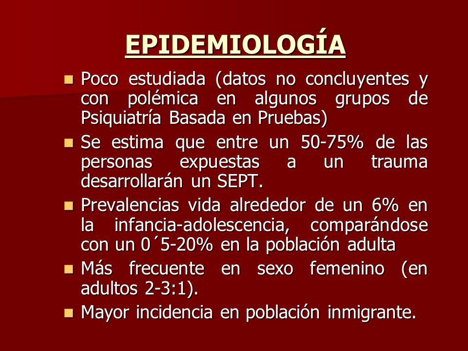 EPIDEMIOLOGÍA Poco estudiada (datos no concluyentes y con polémica en algunos grupos de Psiquiatría Basada en Pruebas)