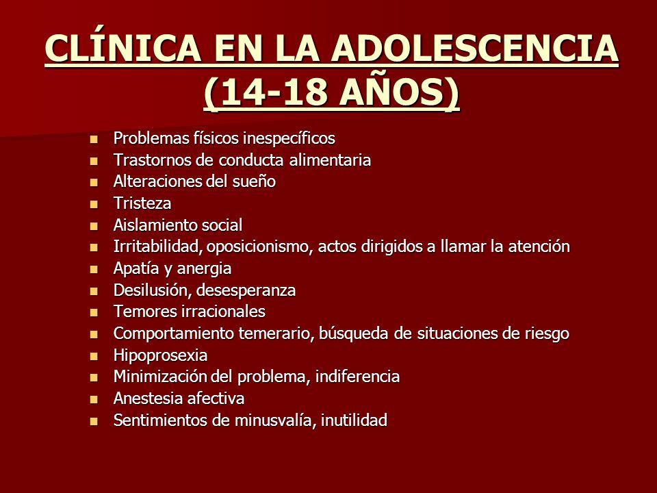 CLÍNICA EN LA ADOLESCENCIA (14-18 AÑOS)