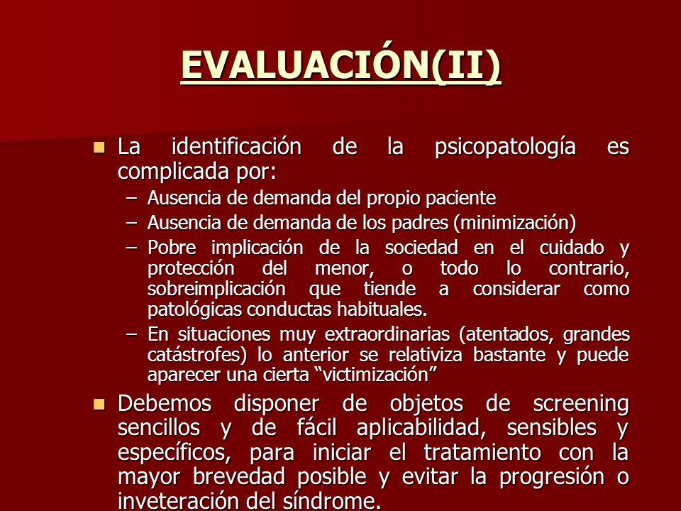EVALUACIÓN(II) La identificación de la psicopatología es complicada por: Ausencia de demanda del propio paciente.