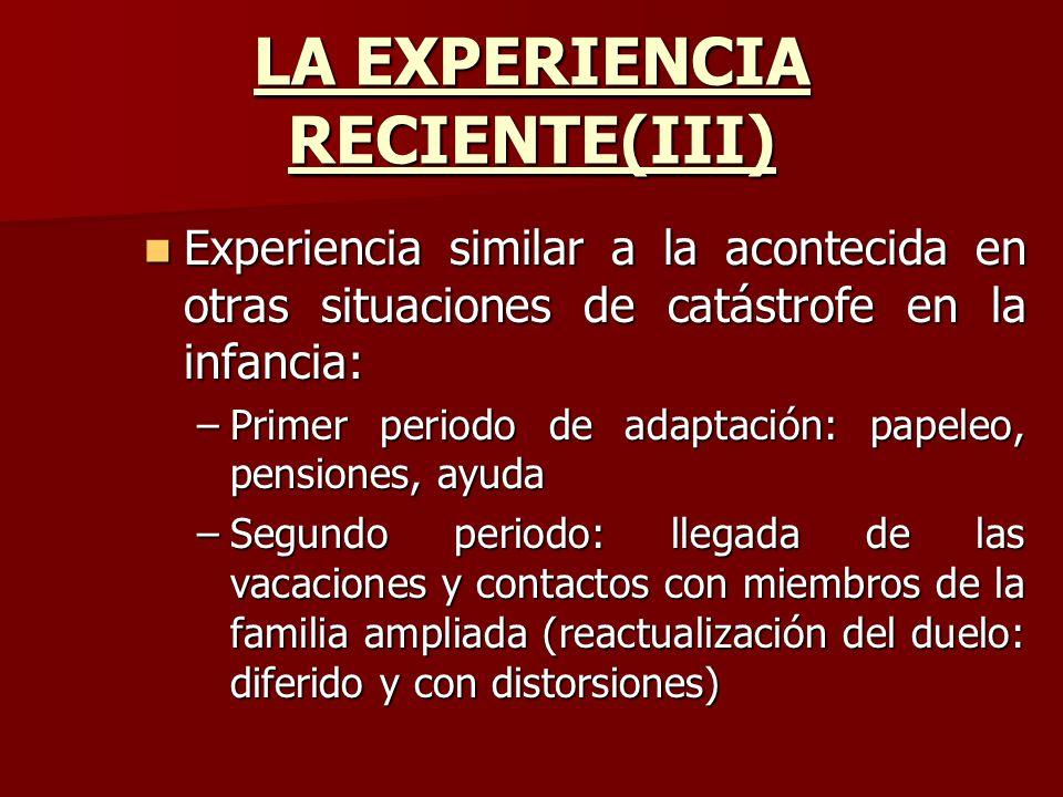 LA EXPERIENCIA RECIENTE(III)
