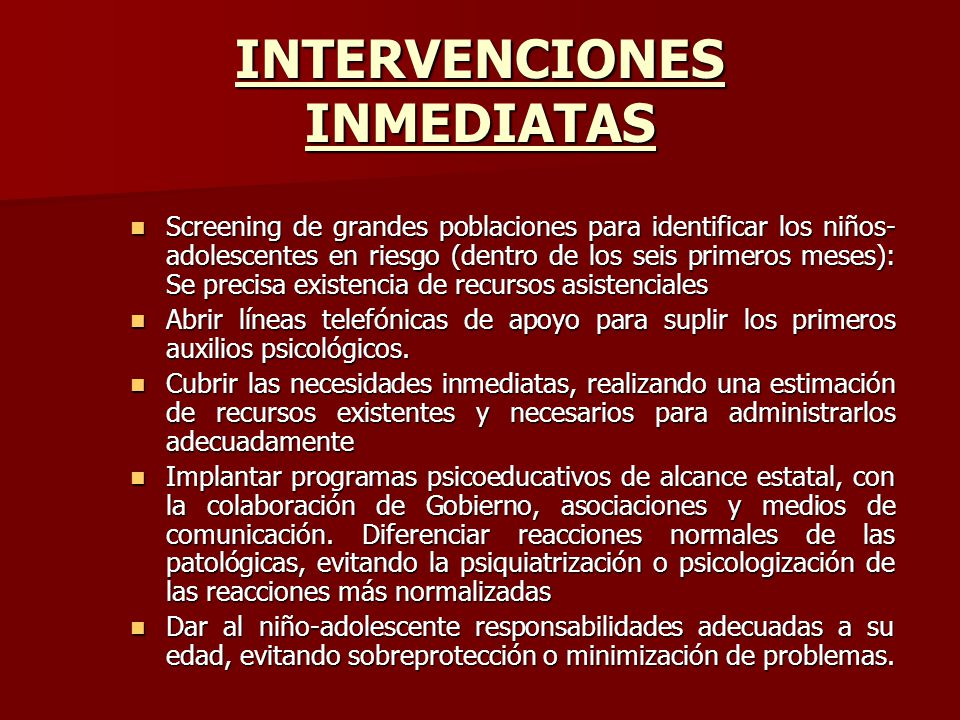 INTERVENCIONES INMEDIATAS