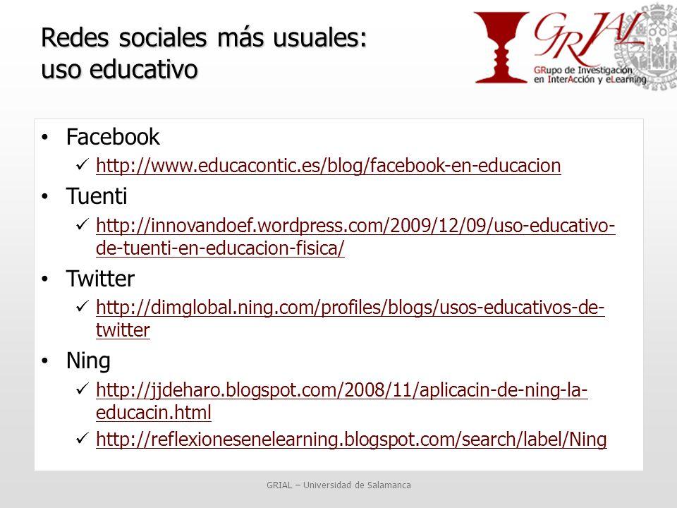 Redes sociales más usuales: uso educativo