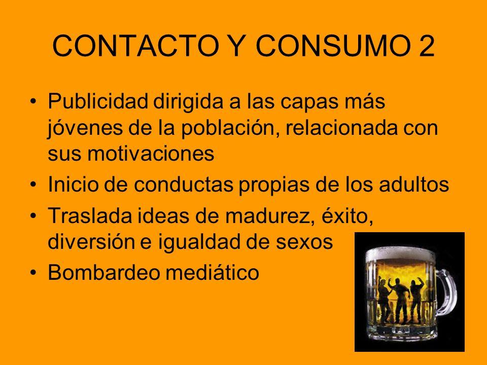 CONTACTO Y CONSUMO 2 Publicidad dirigida a las capas más jóvenes de la población, relacionada con sus motivaciones.