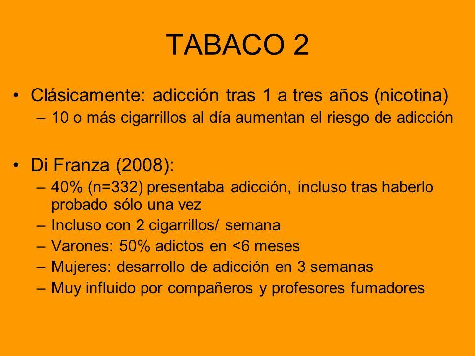 TABACO 2 Clásicamente: adicción tras 1 a tres años (nicotina)