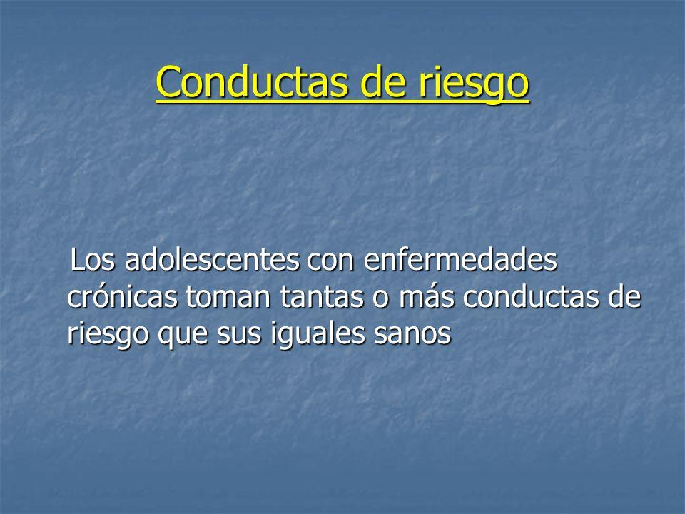 Conductas de riesgo Los adolescentes con enfermedades crónicas toman tantas o más conductas de riesgo que sus iguales sanos.