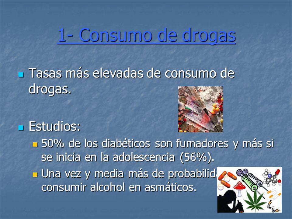 1- Consumo de drogas Tasas más elevadas de consumo de drogas.