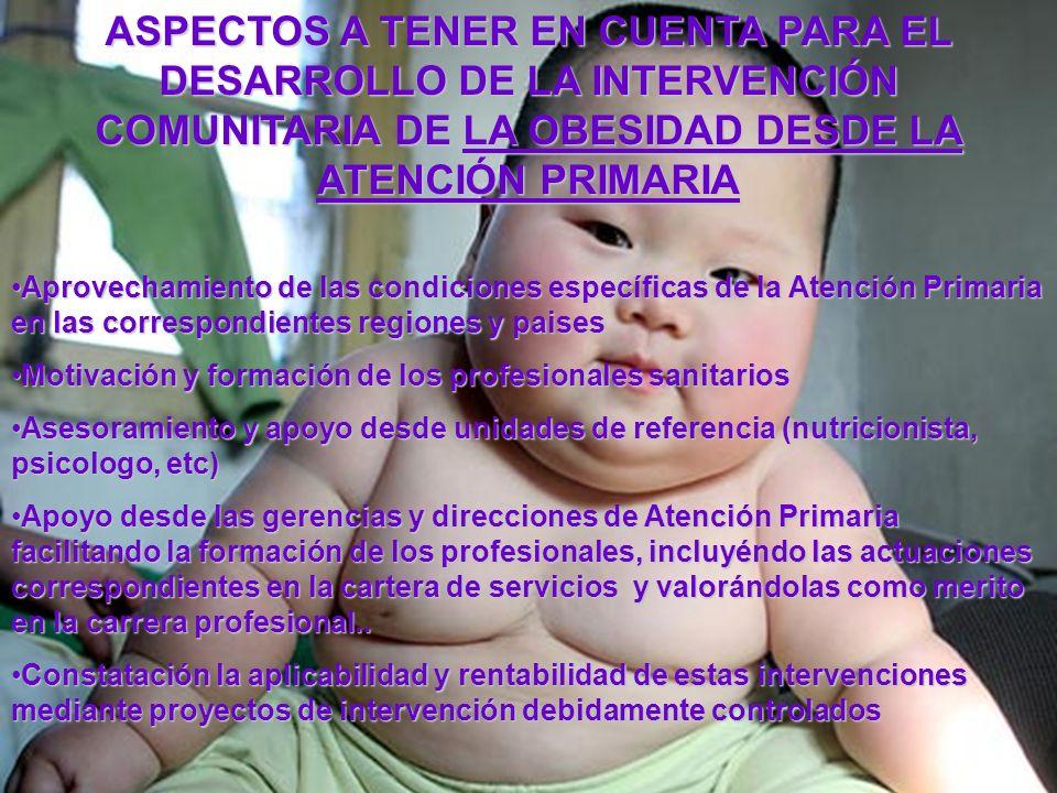 ASPECTOS A TENER EN CUENTA PARA EL DESARROLLO DE LA INTERVENCIÓN COMUNITARIA DE LA OBESIDAD DESDE LA ATENCIÓN PRIMARIA
