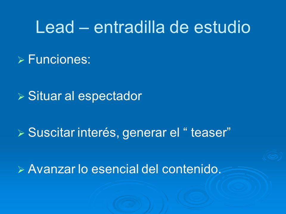 Lead – entradilla de estudio