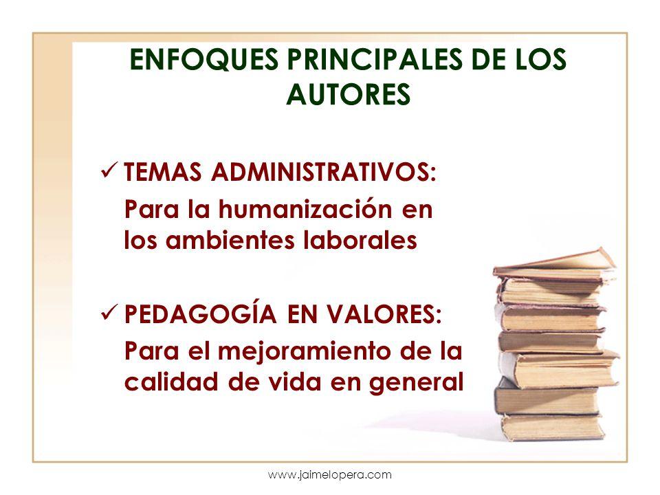 ENFOQUES PRINCIPALES DE LOS AUTORES