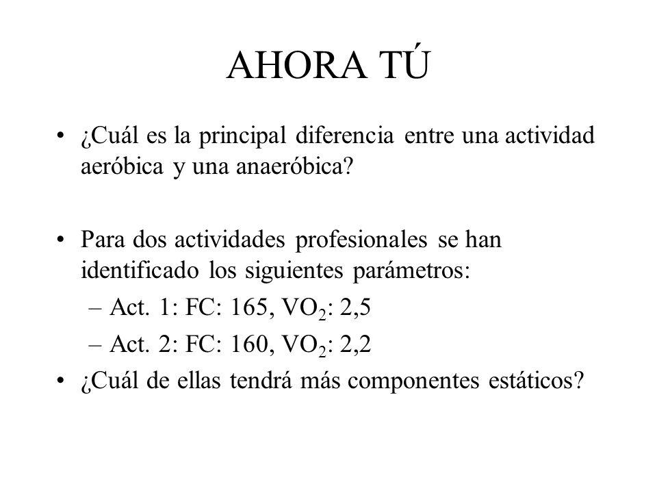 AHORA TÚ ¿Cuál es la principal diferencia entre una actividad aeróbica y una anaeróbica