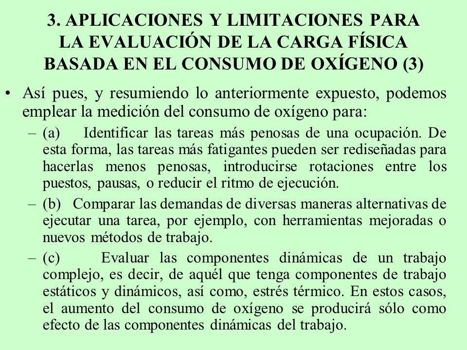 3. APLICACIONES Y LIMITACIONES PARA LA EVALUACIÓN DE LA CARGA FÍSICA BASADA EN EL CONSUMO DE OXÍGENO (3)