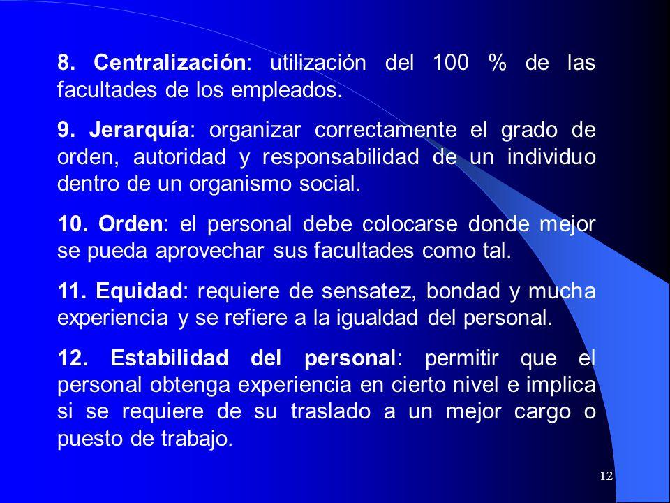 8. Centralización: utilización del 100 % de las facultades de los empleados.